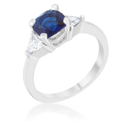 Shonda 1.8ct Sapphire CZ Rhodium Cushion Classic Statement Ring