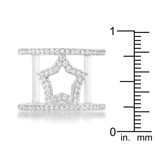 Nailey 0.75ct CZ Rhodium Star Contemporary Ring - THE LUSTRO HUT