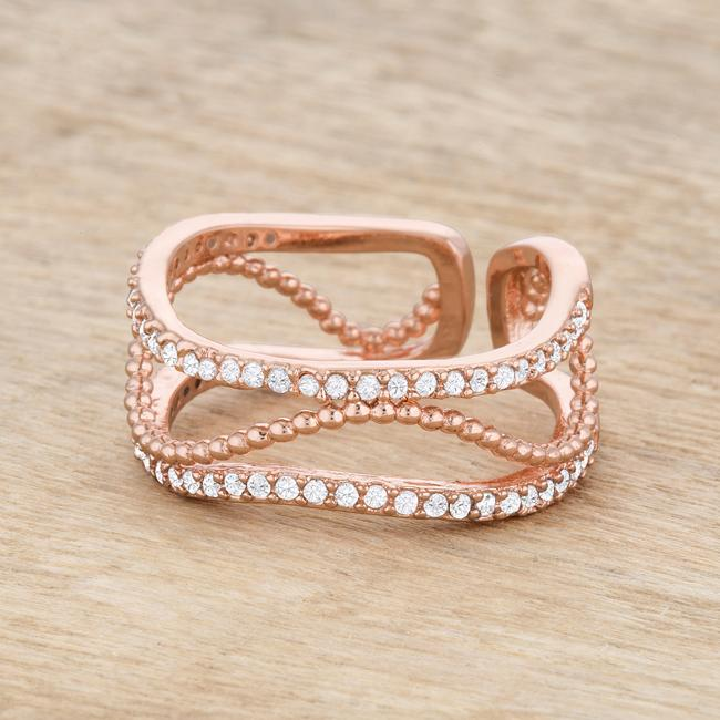 Marina 0.5ct CZ Rose Gold Abstract Cuff Ring - THE LUSTRO HUT