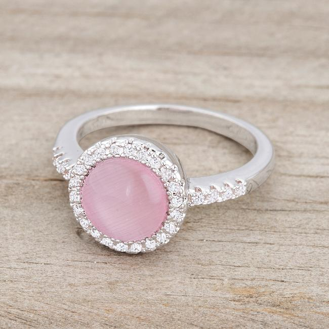 Patricia 0.3ct CZ Pink Cats Eye Rhodium Classic Ring