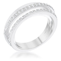Lynn 0.25ct CZ Rhodium Twisted Trio Band Ring - THE LUSTRO HUT