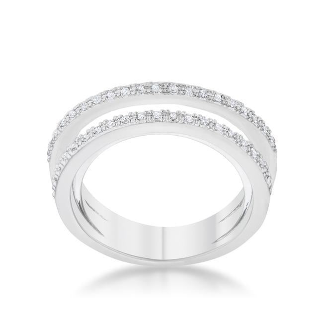 Lynn 0.25ct CZ Rhodium Twisted Trio Band Ring