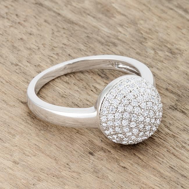 Brie 0.6ct CZ Rhodium Contemporary Sphere Ring