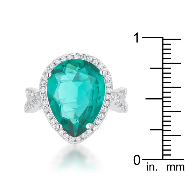 Laura 9.9ct Blue Green CZ Rhodium Classic Teardrop Ring - THE LUSTRO HUT