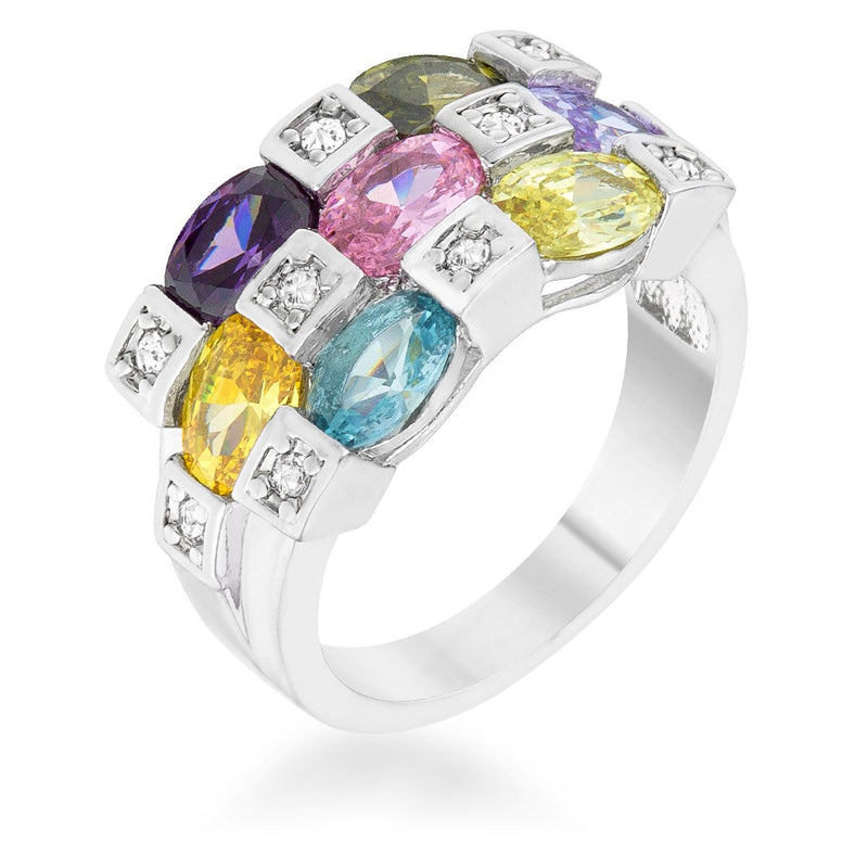 Mina 3.1ct Multicolor CZ Rhodium Cocktail Ring - THE LUSTRO HUT
