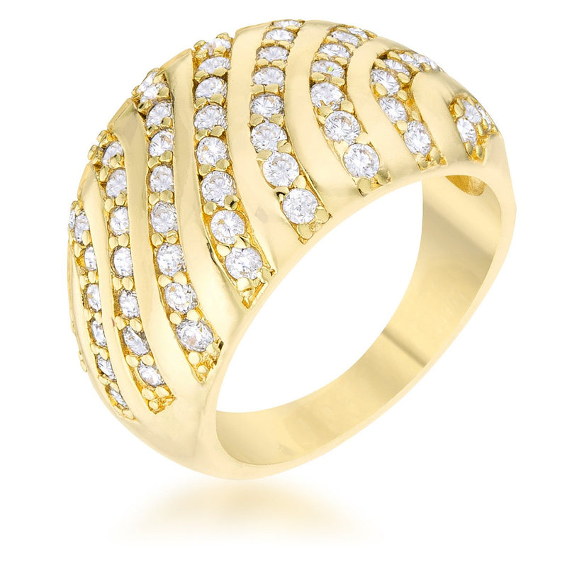 Shayla 0.95ct CZ 14k Gold Contemporary Dome Ring