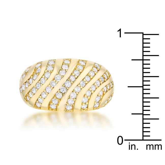 Shayla 0.95ct CZ 14k Gold Contemporary Dome Ring - THE LUSTRO HUT