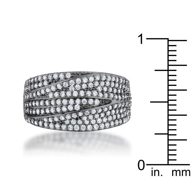 Kina 1.7ct Clear CZ Hematite Contemporary Cocktail Ring - THE LUSTRO HUT
