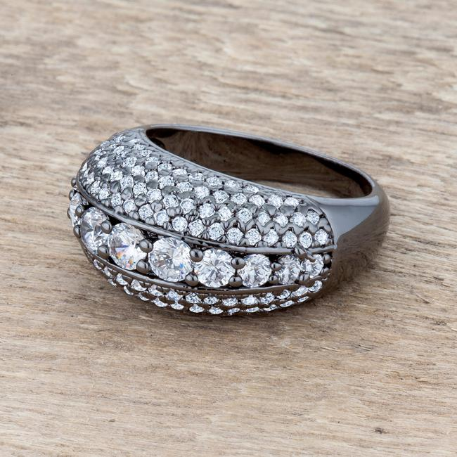 Krista 1.5ct CZ Hematite Contemporary Cocktail Ring - THE LUSTRO HUT