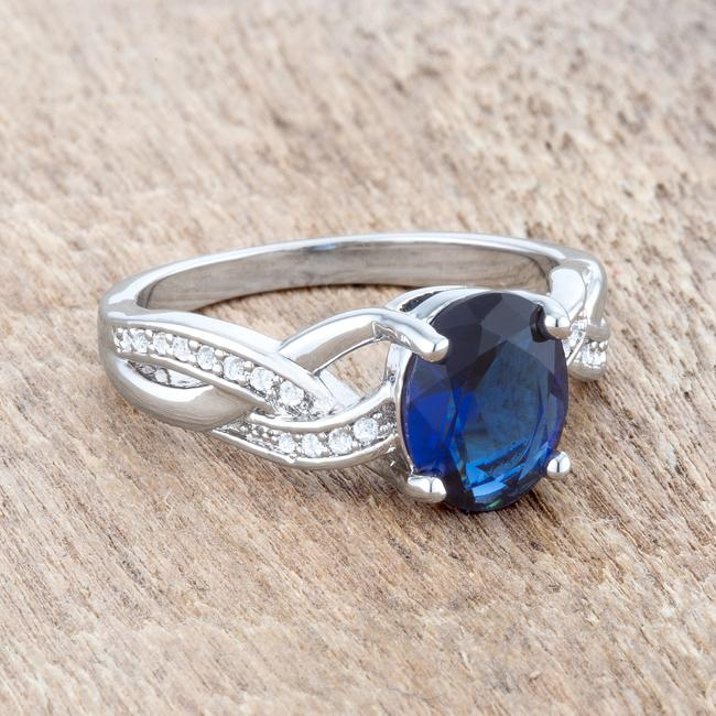 Justine 2ct Sapphire CZ Rhodium Classic Oval Ring - THE LUSTRO HUT
