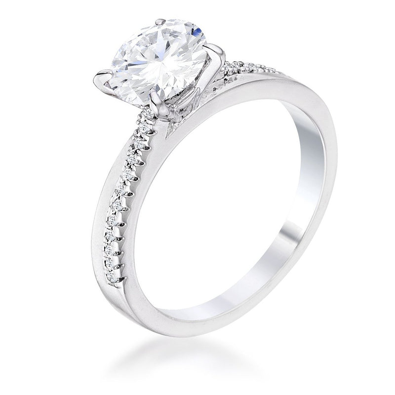 1.4Ct Contemporary Dainty Rhodium Plated Clear CZ Engagement Ring
