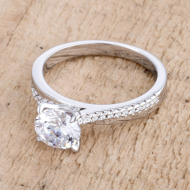 1.4Ct Contemporary Dainty Rhodium Plated Clear CZ Engagement Ring - THE LUSTRO HUT