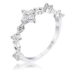 .24Ct Rhodium Plated Clear CZ Mini Floral Half Eternity Stackable Band - THE LUSTRO HUT