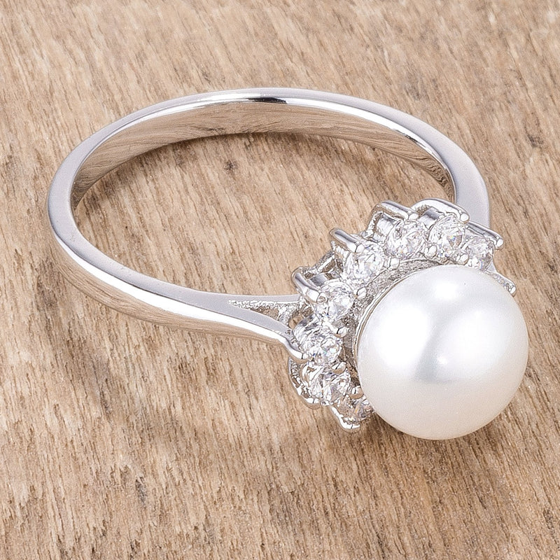 .36Ct Rhodium Plated Freshwater Pearl and CZ Halo Ring - THE LUSTRO HUT