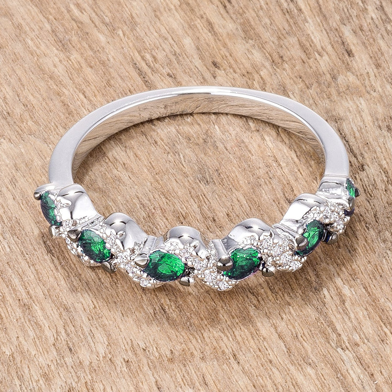 .18Ct Rhodium and Hematite Plated S Shape Emerald Green and Clear CZ Half Eternity Band
