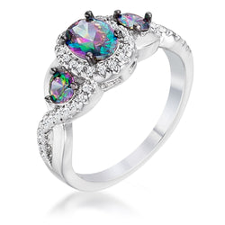 1.43Ct Rhodium & Hematite Plated Mystic & Clear CZ Three Stone Twisted Shank Ring