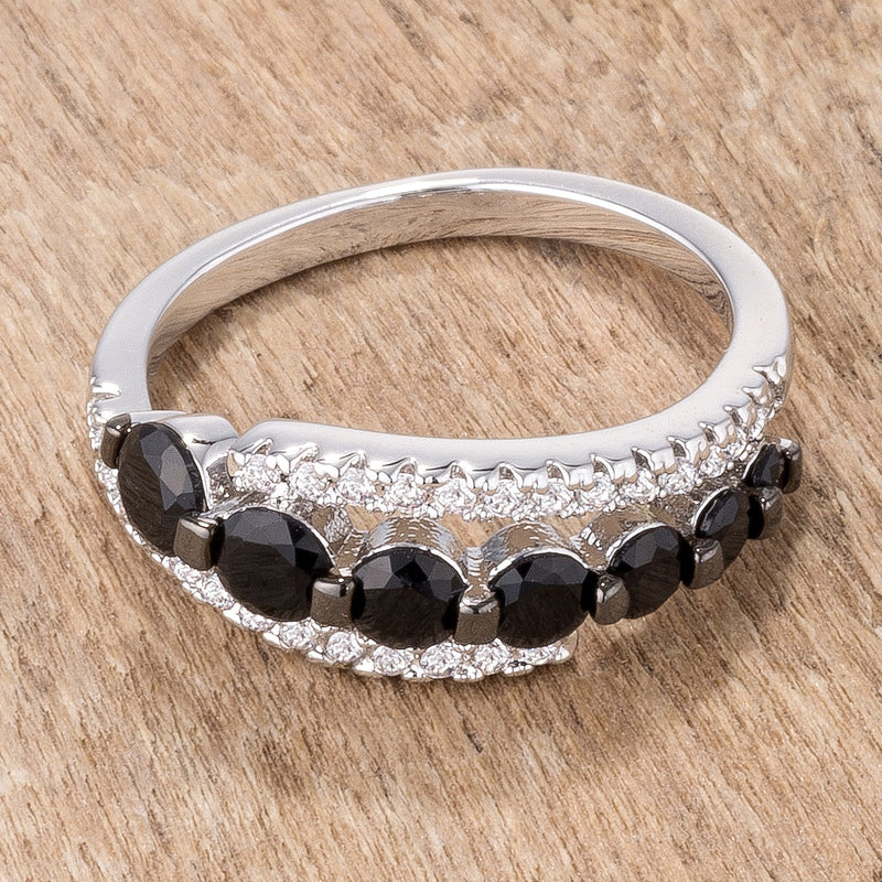 1.06Ct Rhodium & Hematite Plated Graduated Black & Clear CZ Half Eternity Ring - THE LUSTRO HUT