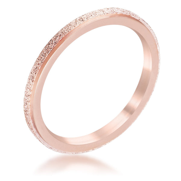 Diamond Cut Rose Goldtone Stainless Steel Stackable Ring