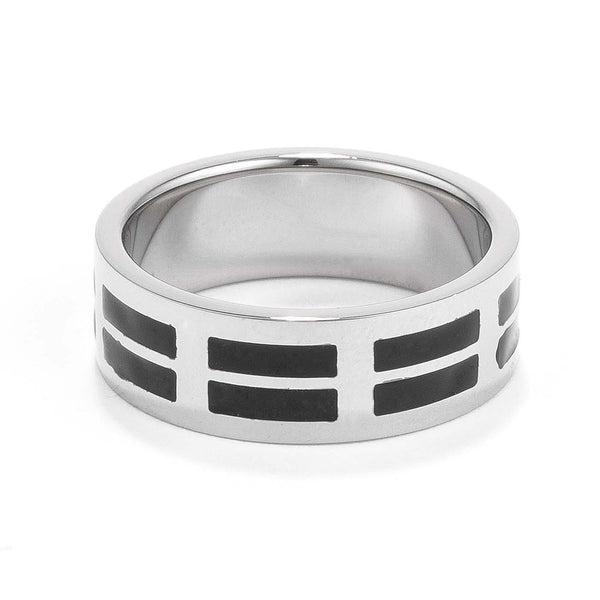 Mens 8MM Stainless Steel and Black Enamel Band