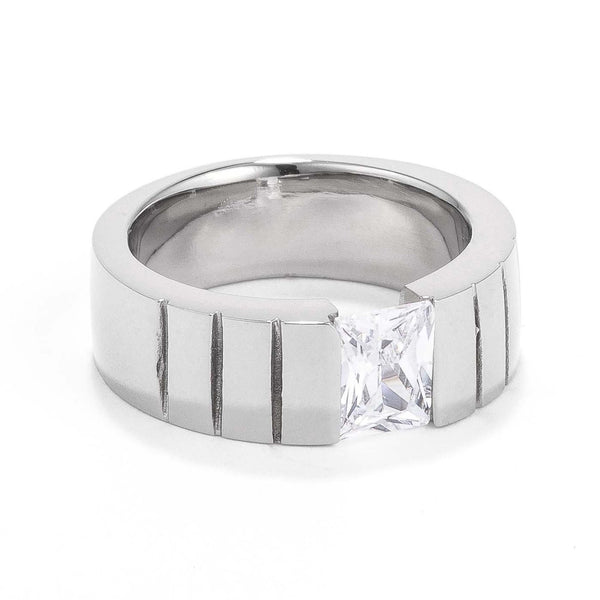 Mens 8MM Stainless Steel Band with Tension Set Radiant Cut CZ