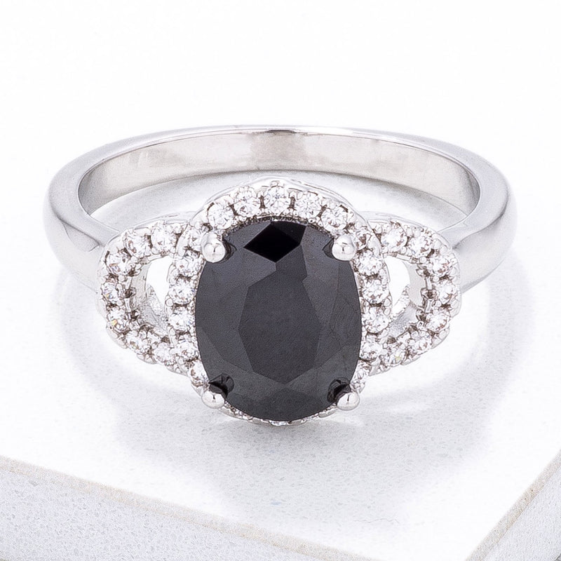 Exquisite Black Oval Pave Mini Cocktail Ring - THE LUSTRO HUT