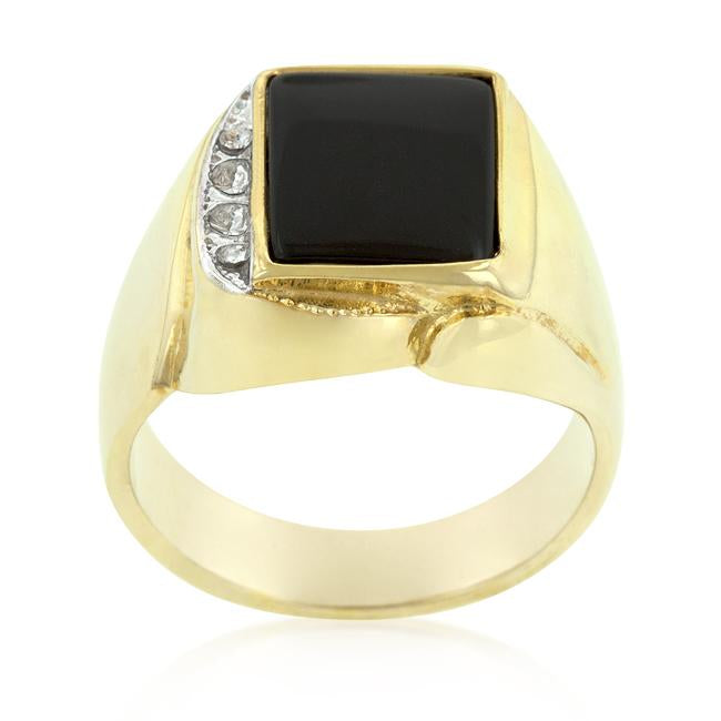 Onyx and Crystal Statement Ring - THE LUSTRO HUT