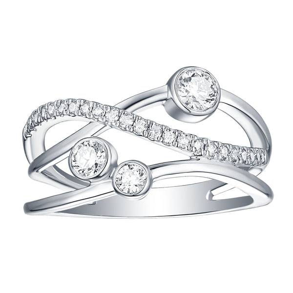 Bubbly Lab Grown Diamonds Ring 10K White Gold 00195WHT