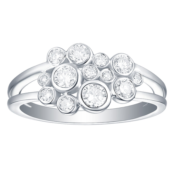 Bubbly Lab Grown Diamonds Ring 10K White Gold R-00202WHT