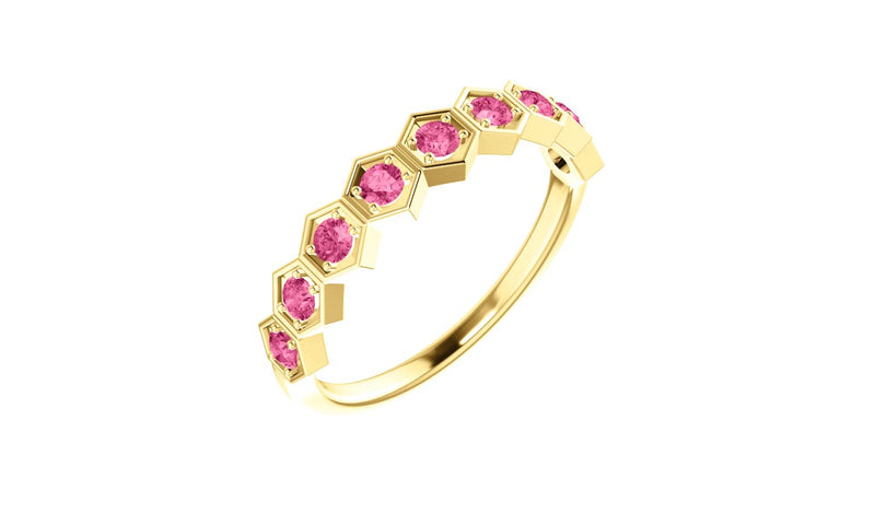 14K Yellow Pink Tourmaline Stackable Ring