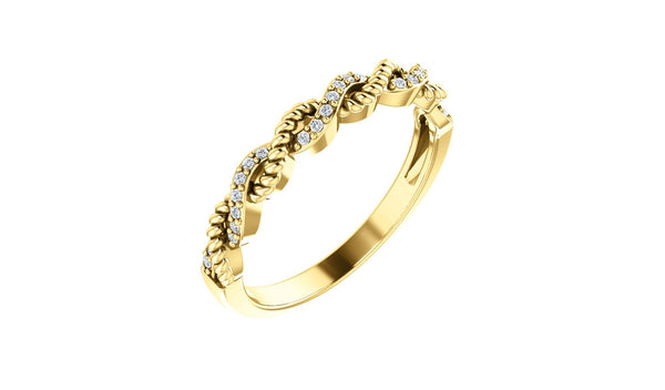 14K Yellow .08 CTW Diamond Stackable Ring - THE LUSTRO HUT