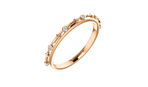 14K Rose .03 CTW Diamond Cross Ring - THE LUSTRO HUT