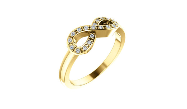 14K Yellow 1/10 CTW Diamond Infinity-Inspired Ring