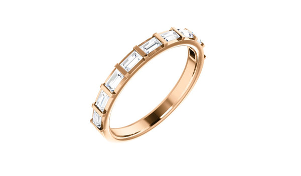 14K Rose 1/2 CTW Diamond Straight Baguette Anniversary Band - THE LUSTRO HUT