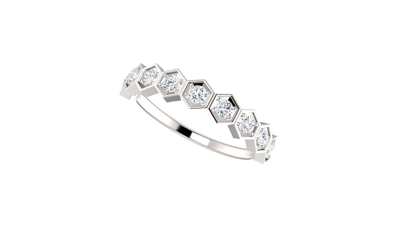 14K White 1/3 CTW Diamond Stackable Ring