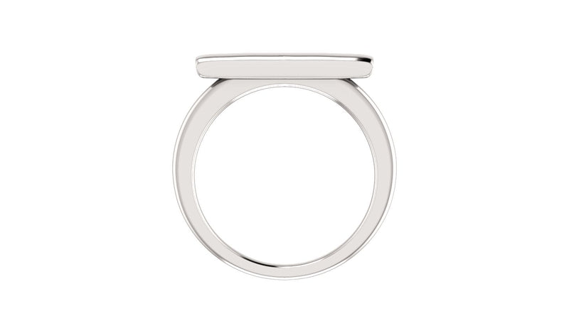 14K White Bar Ring