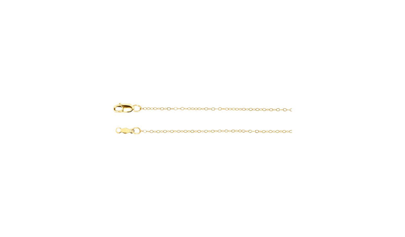 "14K Yellow 1 mm Flat Cable 24"" Chain with Lobster Clasp"