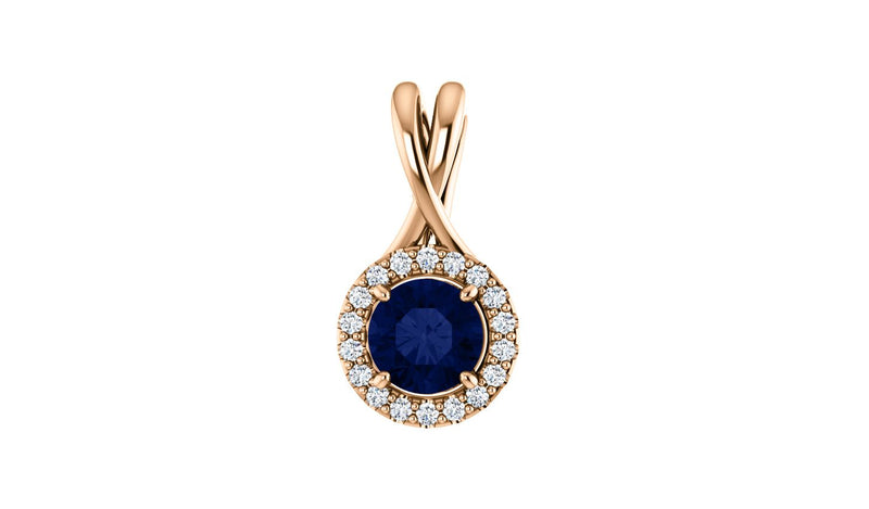 14K Rose Sapphire & 1/10 CTW Diamond Pendant - THE LUSTRO HUT