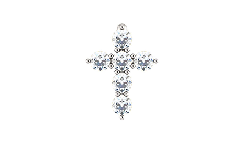 14K White 1/6 CTW Diamond Cross Pendant