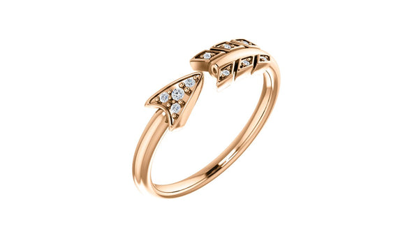14K Rose .04 CTW Diamond Arrow Ring