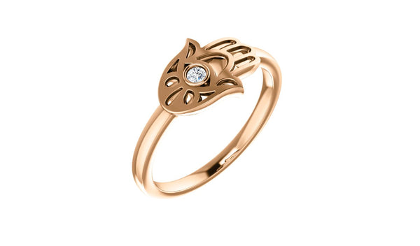 14K Rose .03 CTW Diamond Hamsa Ring