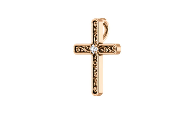 14K Rose .03 CTW Diamond Cross Pendant