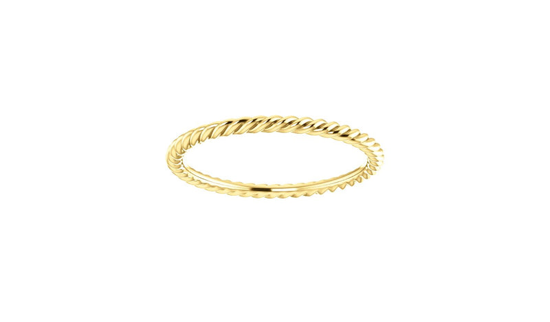 14K Yellow 1.5 mm Skinny Rope Band Size 6