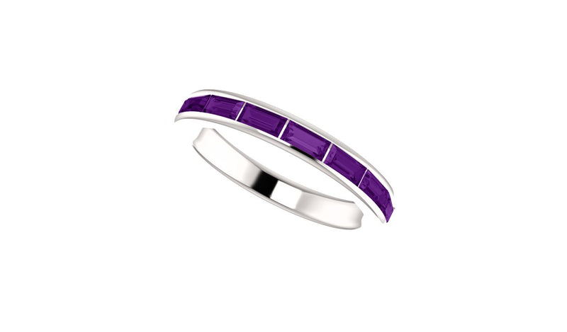 14K White Amethyst Ring
