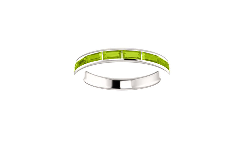 14K White Peridot Ring