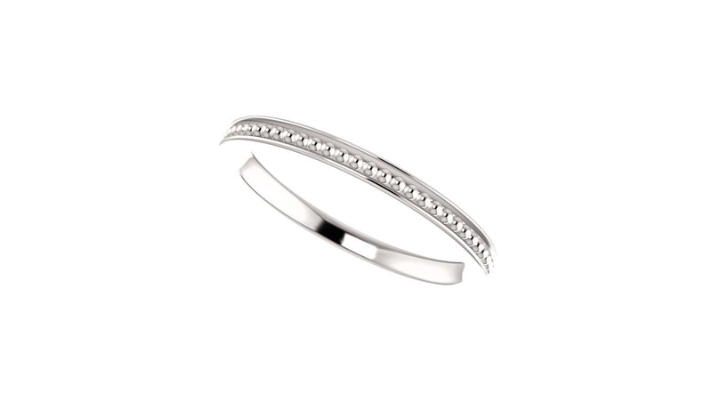 14K White Stackable Bead Ring Size 7