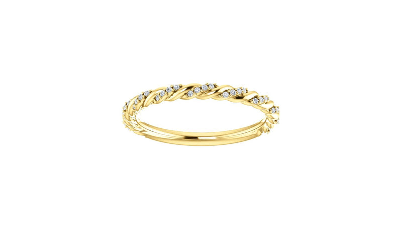 14K Yellow 1/8 CTW Diamond Pavé Twisted Anniversary Band