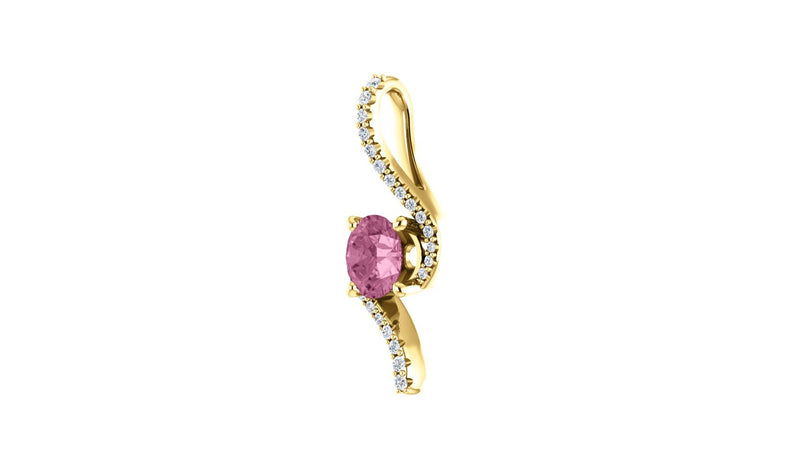 14K Yellow 5.5 mm Round Passion Pink Topaz & .08 CTW Diamond Pendant