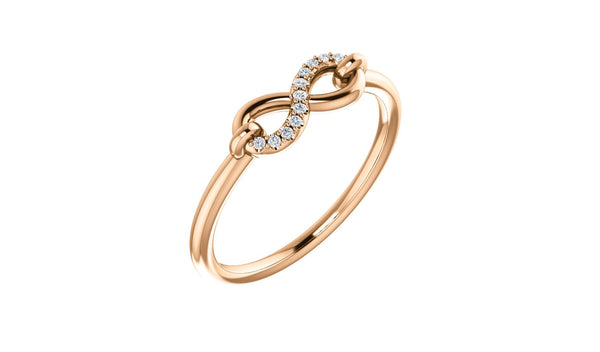 14K Rose .04 CTW Diamond Infinity-Inspired Ring - THE LUSTRO HUT