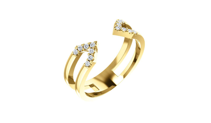 14K Yellow 1/8 CTW Diamond Geometric Ring