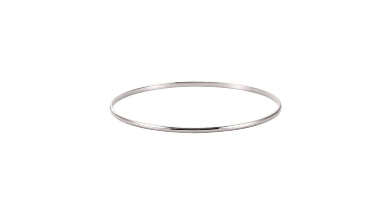 14K White Gold 2 mm Half Round Bangle Bracelet